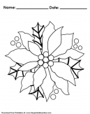 Poinsettia Christmas Coloring Worksheet For Kids With Christmas Coloring Pages