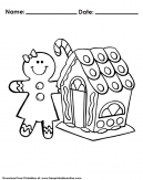 Gingerbread House Coloring Page Worksheet Activities For Kids This Christmas