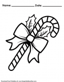Candy Cane ready for Coloring - Worksheet with name and date