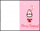 Merry Christmas Greeting Card With Penguin saying Ho Ho Ho