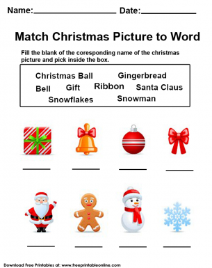 Christmas Worksheet - Name the Object and Match the Christmas Picture to The Words