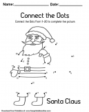 Santa Claus Connect the Dots Coloring Worksheet For Pre-School Kids