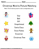 Christmas Words to Picture Matching - Worksheet. Match the Christmas picture to their corresponding word