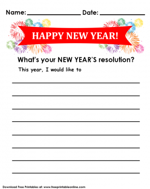 New Years Resolutions Goals List Sheet