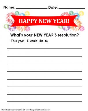 New Years Resolutions Goals List Sheet