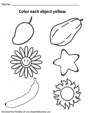 Yellow Objects Coloring Page