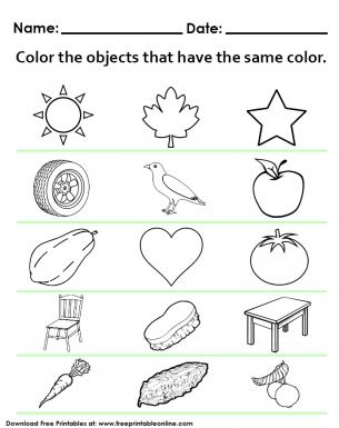 Same Color Object Worksheet