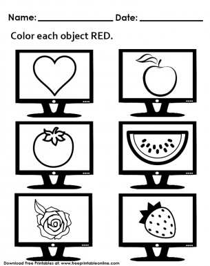 Free - Only Color Red Objects - Worksheet Handout For Preschool Kids