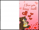 I Love You Beary Much Valentines Card - With a cute bear and love hearts saying
