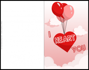 I Heart You - Valentines Card with red ballons and clouds in the background
