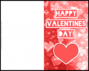 Valentines Day Printable Card - Red and white with 'Happy Valentines Day!' as the title.. and a big red heart