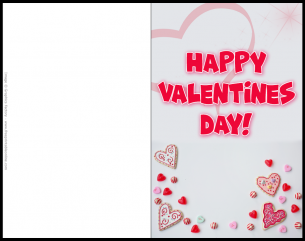 Valentines Day Printable Card - Red and light grey with 'Happy Valentines Day!' as the title..