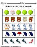 Circle the Different Picture Worksheet - Circle the picture that is different.