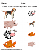 Matching Baby Animals Kids Worksheet - Draw a line to match the parents with the babies.