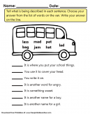 School Bus Word Game Worksheet for Kids - Tell us what is being described in each sentence. Choose your answer from the list of words on the van.