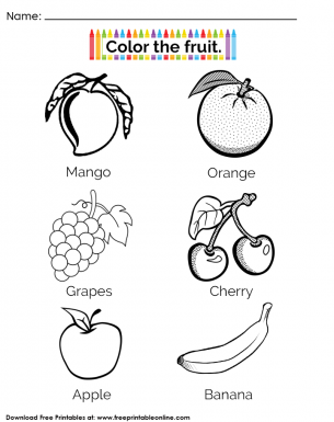 Fruit Coloring Page handout For Kindergarten Children - Color the fruit in the worksheet activity