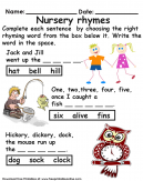 Nursery Rhymes Activity Worksheet For Kids - Complete each sentence by choosing the right rhyming word from the box below it.