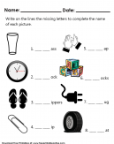Complete The Missing Letters Worksheet