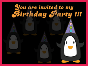 Penguin Party Birthday Invitation