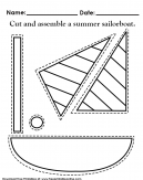 Cut out and assemble a summer sailboat - cut along the dotted lines and reasemble into a fun sailboat