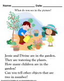 Two Kids Watering Plants in a garden - We ask - What do you see in the picture?