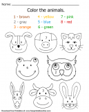 Color the Animal Heads Worksheet - Color by numbers - Brown, Grey, orange, yellow, Blue, Green, pink, red