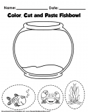 Color and Cut Paper Craft and Activity Worksheet for Kids - The worksheet of a fish, a turtle and aquarium decoration. Color, Cut and paste Fish bowl