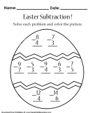 Easter Subtraction - Kids Worksheet - Solve each math problem and color the picture.