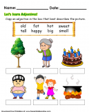 Adjective Kids Worksheet - Write the word that best describes the person or object in the picture.