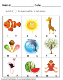 Beginning Letter - Kids Worksheet - Encircle the begining letter of each picture