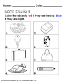 Comparing Heavy Vs Light Object Kids Worksheet - Color the objects that are heavy
