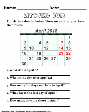 Days of the Month Calendar Worksheet for Kids. Answer the questions about the days of the month.