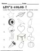 Identifying the same Color Kids Worksheet - Lets color in and color the objects that are the same
