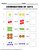 Combination of Sets Math Worksheets - Combine the sets together and draw the next set.