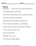 Encircle the Nouns in Each Sentence - 10 Sentences to Learn Nouns Worksheet For Kids