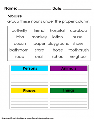 Enjoy Learning Basic Nouns - Kids Activity Worksheet
