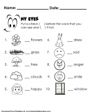 Test My Sense of Sight - Kids Worksheet