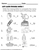 Supply the blanks with the missing letters to complete each rhyming words. Word Completion and Rhyming-Kids Worksheet