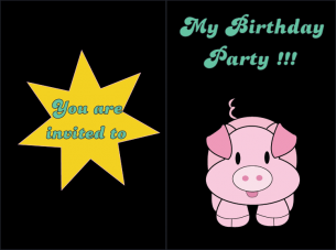 Pink Pig Birthday Invitation
