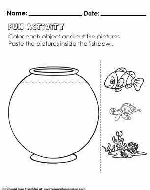 Fish bowl Cut, Color and Paste - Kids Worksheet