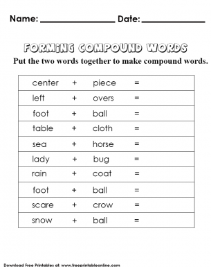 Forming a Compound Word by adding Two Words Together with this Fun Kids Activity Worksheet