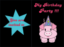 Pink Party Hat Birthday Invitation
