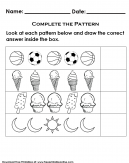 Object Pattern Recognition Kids Activity Worksheet