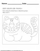 Learning how to trace lines and color a picture. - Kids Worksheet