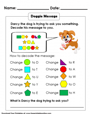 Decoding Message using Shapes Kids Activity Worksheet