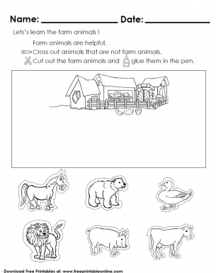 Learning Farm Animals Kids Activity Worksheet