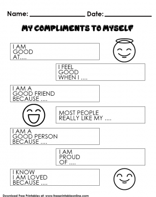 My Compliments to Myself Kids Worksheet