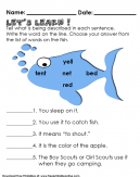 Identifying which is being described. Let's Start fishing your Answer - Preschool Questionnaire
