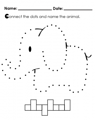 Elephant Dot Tracing Template