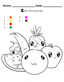 Bring cute fruit alive with color by numbers - Apple, Orange, Banana, Watermelon, Grapes, Pineapple